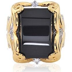 Michael Valitutti Silver/ Palladium/ 18k Vermeil Onyx Ring