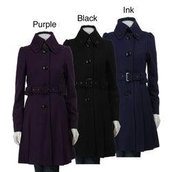 Steve Madden Women's Wool Button-front Pleated Coat