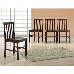 Espresso Wood Dining Chairs (Set of 4)