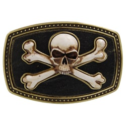 Boston Traveller Antique Finish Skull and Crossbones Belt Buckle