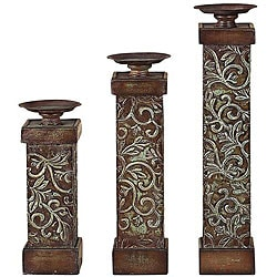 Wood and Metal Candle Holders (Set of 3)