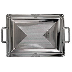 Carlisle Foodservice 17 7/8 x 13 Geometic Bordered Tray With Handles