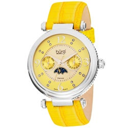 Burgi Women's Diamond Swiss Quartz Strap Watch