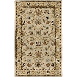 Hand-tufted Traditional Coliseum Vanilla Floral Border Wool Rug (9&#39; x 12&#39;)