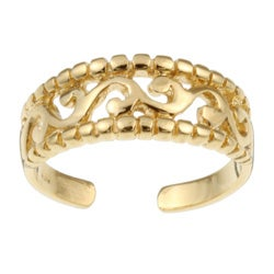 Sterling Essentials 14K Gold over Silver Filigree AdjustableToe Ring