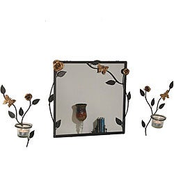Square Mirror and Candle Sconce Set with Butterflies and Flowers