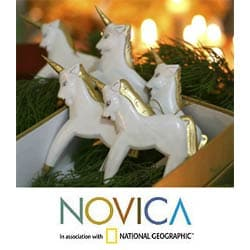 Set of Five Wooden 'Unicorns' Ornaments (Indonesia)
