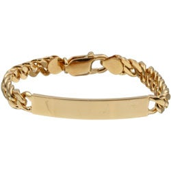 Sterling Essentials 14k Yellow Gold over Sterling Silver Children's ID Bracelet