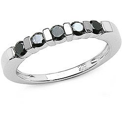 Malaika Silver 1/2ct TDW Black Diamond 5-stone Ring