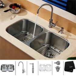 Kraus Stainless Steel Undermount Kitchen Sink, Faucet and Dispenser