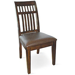 Slat-back Vinyl Upholstered Chairs (Set of 2)