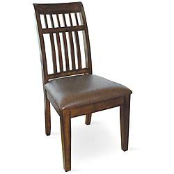 Slat-back Vinyl Upholstered Chairs (Set of 2)