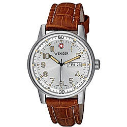 Wenger Men's Swiss Military Commando Day-Date XL Brown Watch
