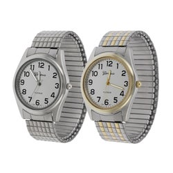 Geneva Platinum Men's Stretch Bracelet Watch