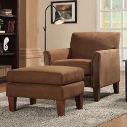 ETHAN HOME Uptown Mocha Microfiber Accent Chair and Ottoman