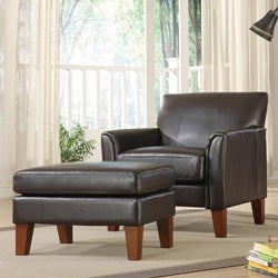 ETHAN HOME Uptown Dark Brown Faux Leather Chair and Ottoman