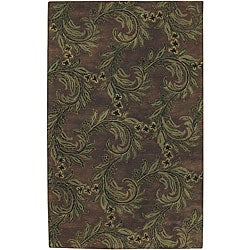 Hand-tufted Brown Wool Wavre Rug (9' x 13')