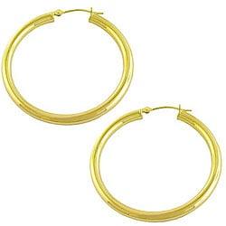 14k Yellow Gold Polished Tube Hoop Earrings