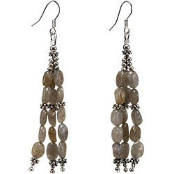 Silver Labradorite 3-strand Dangle Earrings (Thailand)