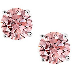 14k White Gold 1/5ct TDW Pink Diamond Stud Earrings (SI2)