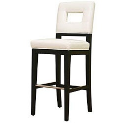 Contemporary White Leather Bar Stool