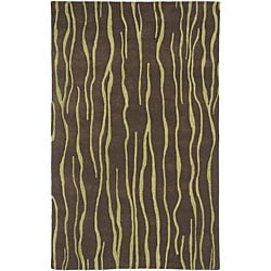 Hand-tufted Brown Wool Expedition Rug (5' x 8')