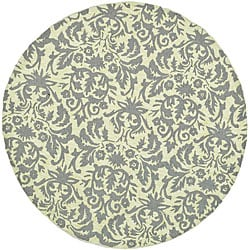 Hand-hooked Damask Beige-Yellow/ Grey Wool Rug (4' Round)