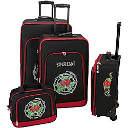 Rockland Deluxe Red Rose 4-piece Luggage Set