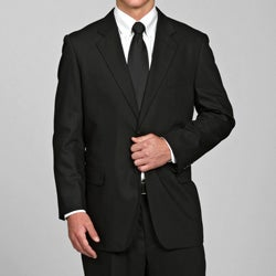 Carlo Lusso Men's Black Tonal 2-button Suit
