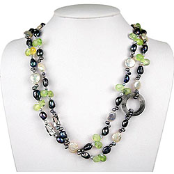 Freshwater Pearl, Cloudy Crystal and Fluorite Necklace (8-20 mm)