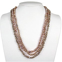 Freshwater Pearl with Carved Shell Necklace (9 mm)