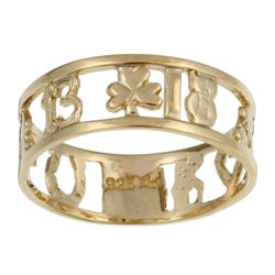 14k Gold over Silver Lucky Charm Ring (Size 7)
