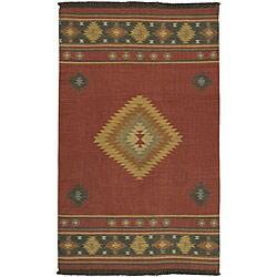 Hand-woven Red Southwestern Aztec Santa Fe Wool Rug (2'6 x 8')