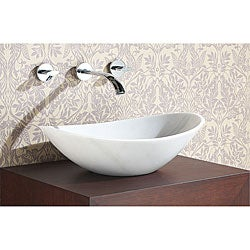 Oval White Marble Stone Vessel Sink