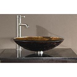 Tempered Glass Metallic Copper Sink Vessel