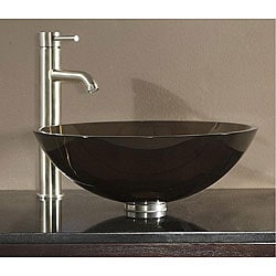 Tempered Glass Brown Vessel Sink