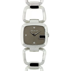 Gucci Women's YA125401 'G-Gucci' Diamond-Accented Stainless Steel Watch