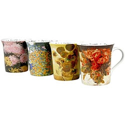 Konitz 'Les Fleurs Chez' 12-ounce Assorted Design Mugs (Set of 4)