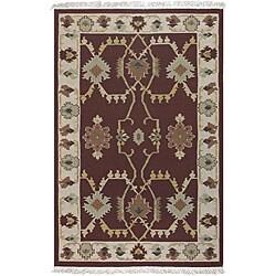 Hand-woven Burgundy Southwestern Aztec New Zealand Wool Rug (8' x 11')