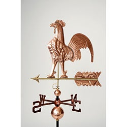 Full Size Copper Polished Rooster Weathervane