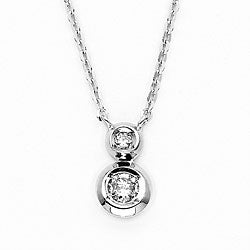 14k White Gold Bezel-set Diamond Necklace (H-I, I1)