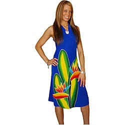 Hand-painted Bird of Paradise Royal Blue Sundress (Indonesia)