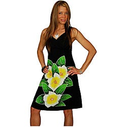 Hand-painted Plumeria Mini Black Dress (Indonesia)