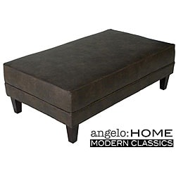 angelo:HOME  Cocktail Ottoman Coffee Brown Renu Leather.