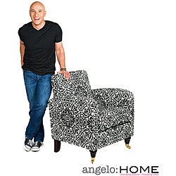 angelo:HOME Modern Damask Black and White Grant Arm Chair