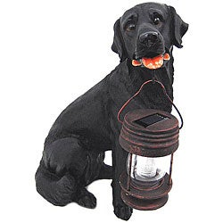 LED Solar Light Black Labrador Dog Lantern
