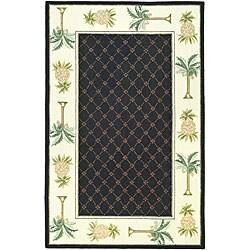 Safavieh Hand-hooked Palm Black/ Ivory Wool Rug (6' x 9')