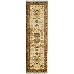 Legacy Hand-knotted Mahal Ivory/ Red Wool Runner (3' x 10')
