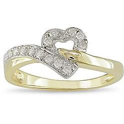 10k Two-tone Gold 1/6ct TDW Diamond Heart Ring (I-J, I2)