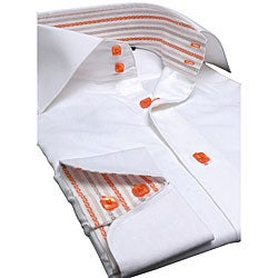 White Shirt Dress on Brio Uomo By Domani Men S White  Orange Dress Shirt   Overstock Com